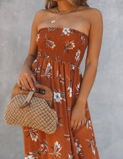 Farhan Floral Strapless Smocked Maxi Dress - Rust view 4