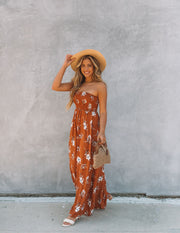 Farhan Floral Strapless Smocked Maxi Dress - Rust view 7