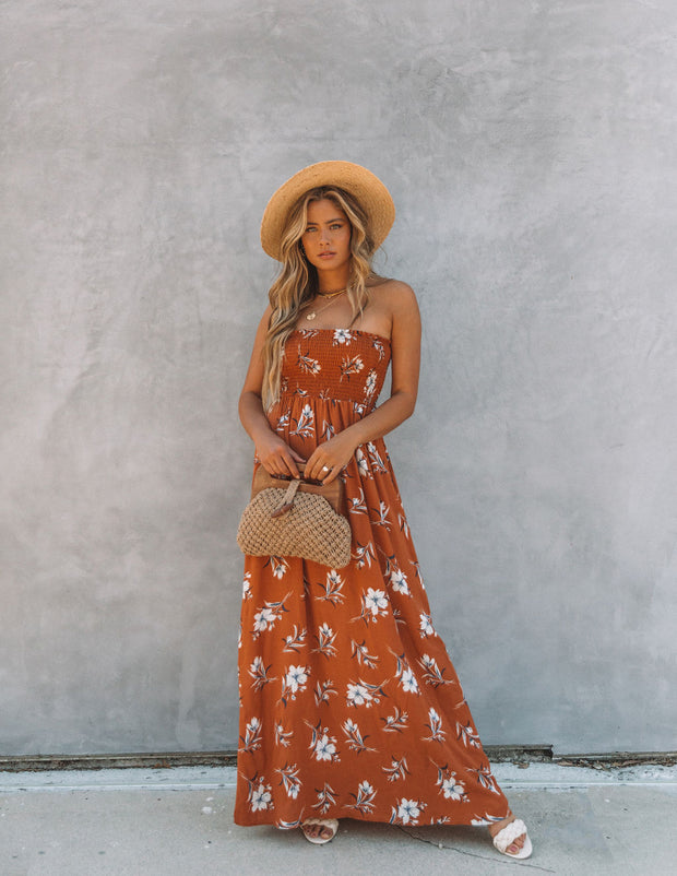 Farhan Floral Strapless Smocked Maxi Dress - Rust view 3