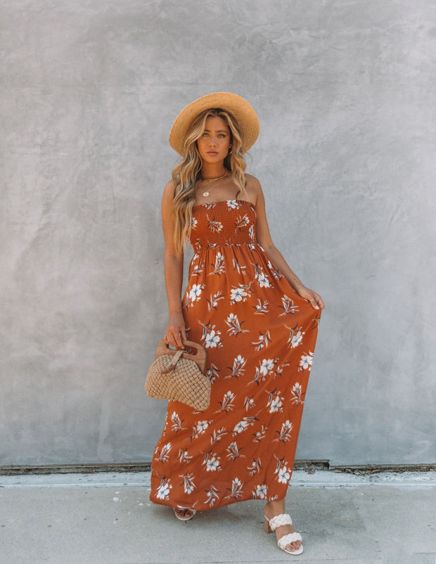 Farhan Floral Strapless Smocked Maxi Dress - Rust view 8