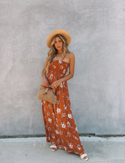 Farhan Floral Strapless Smocked Maxi Dress - Rust view 9