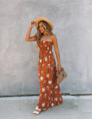 Farhan Floral Strapless Smocked Maxi Dress - Rust view 10
