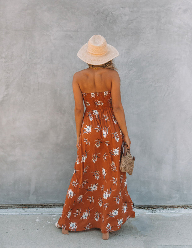 Farhan Floral Strapless Smocked Maxi Dress - Rust view 2