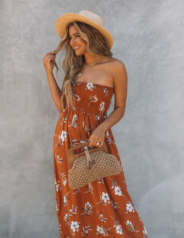 Farhan Floral Strapless Smocked Maxi Dress - Rust view 6