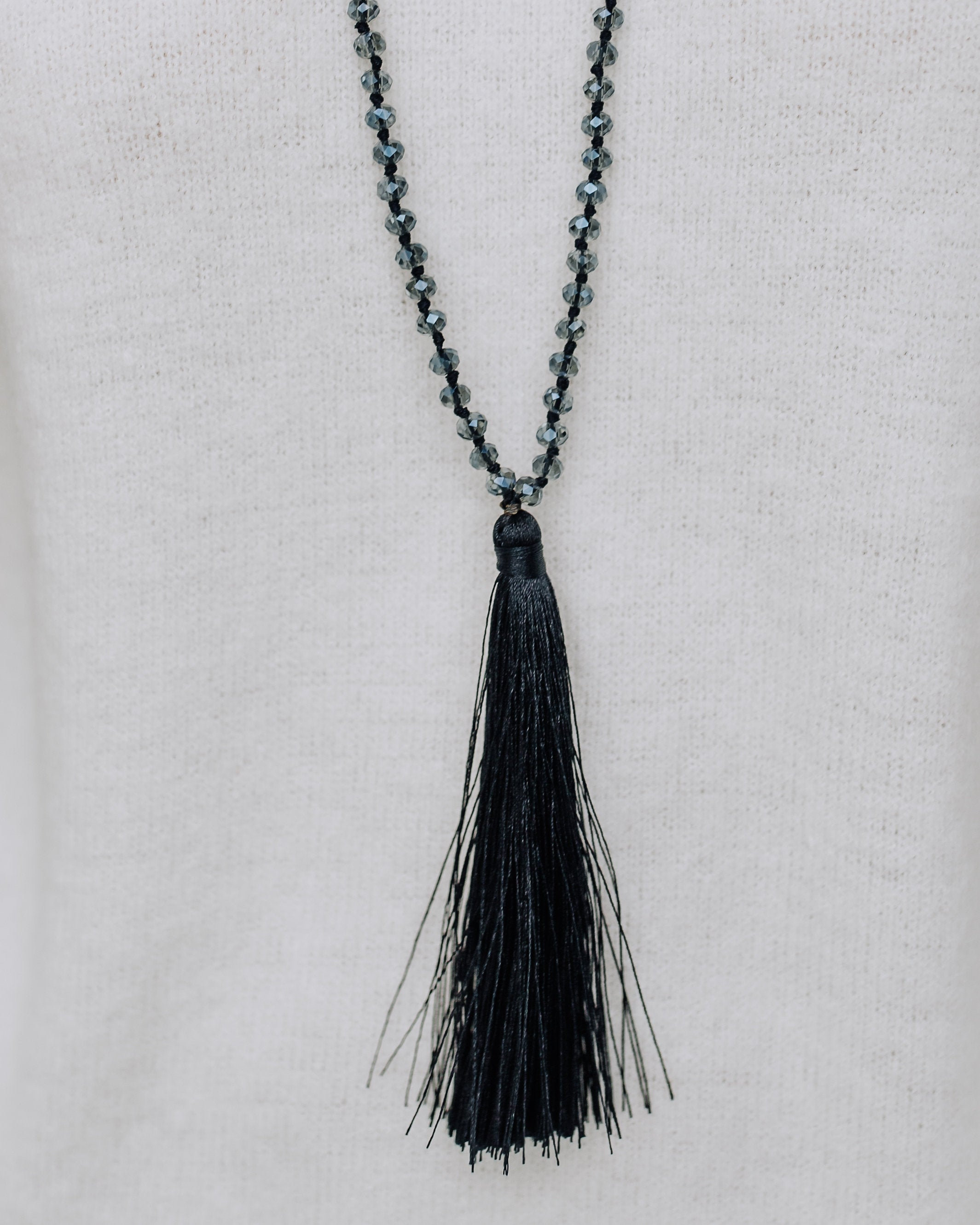 tassel necklace products set black silver