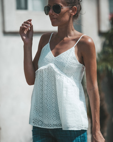 Catching Clouds Eyelet Cotton Tank - FINAL SALE