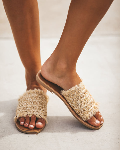 Sandy Toes Straw Slide Sandal