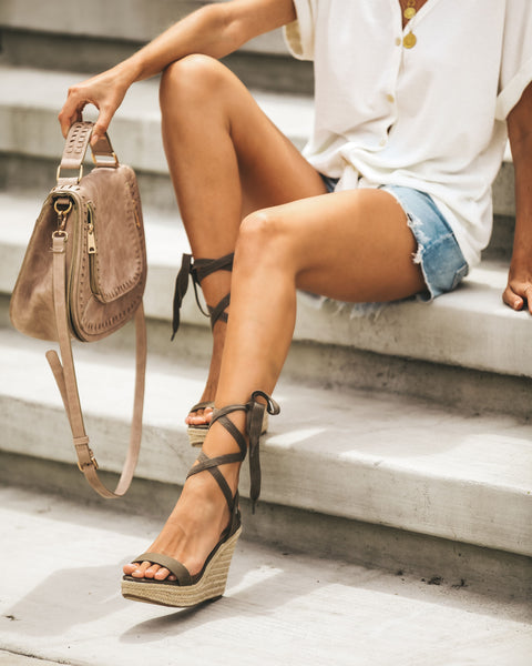 Gia Ankle Wrap Wedge Espadrilles - Olive - FINAL SALE