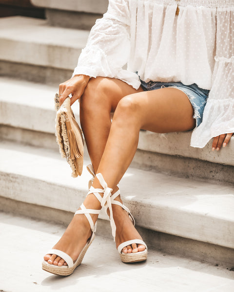 Gia Ankle Wrap Wedge Espadrilles - Natural