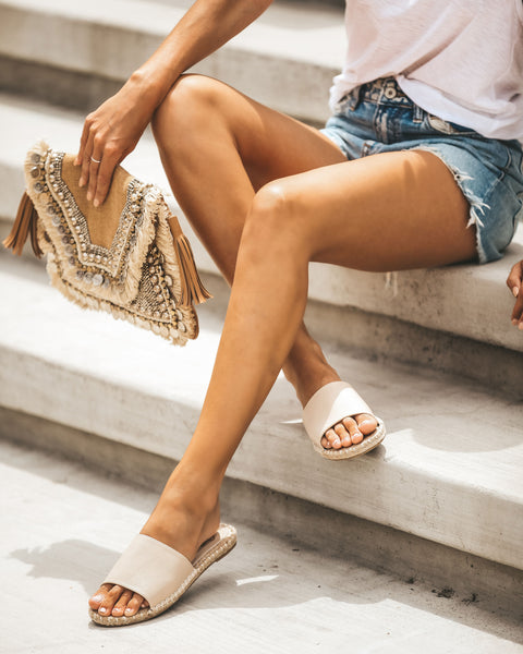 Moana Faux Leather Espadrille Slide Sandals - Nude
