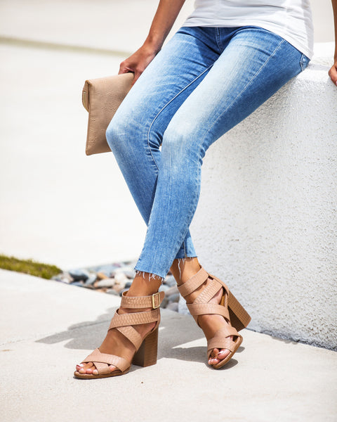 Cersei Faux Leather Strappy Heeled Sandals