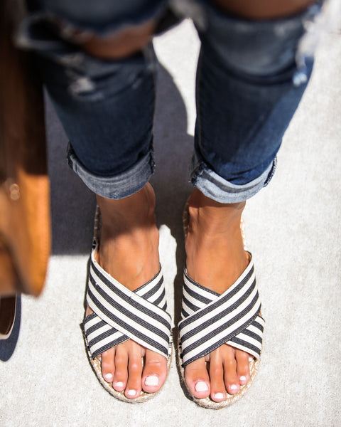 Davey Striped Crossover Espadrille Slides