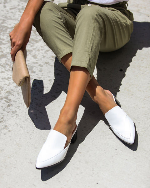 Best In The Biz Pointed Heeled Mule - White - FLASH SALE