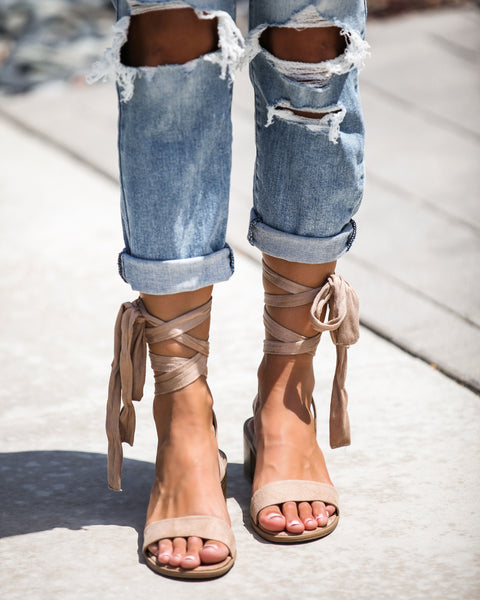 Faye Ankle Wrap Heeled Sandals - Taupe