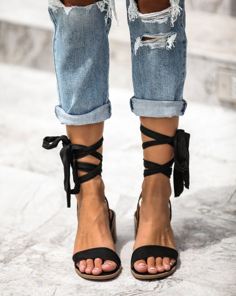 Faye Ankle Wrap Heeled Sandals - Black