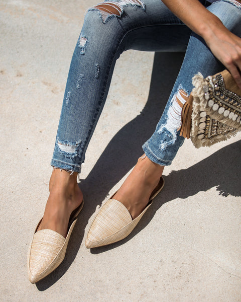 Like The locals Woven Pointed Mules