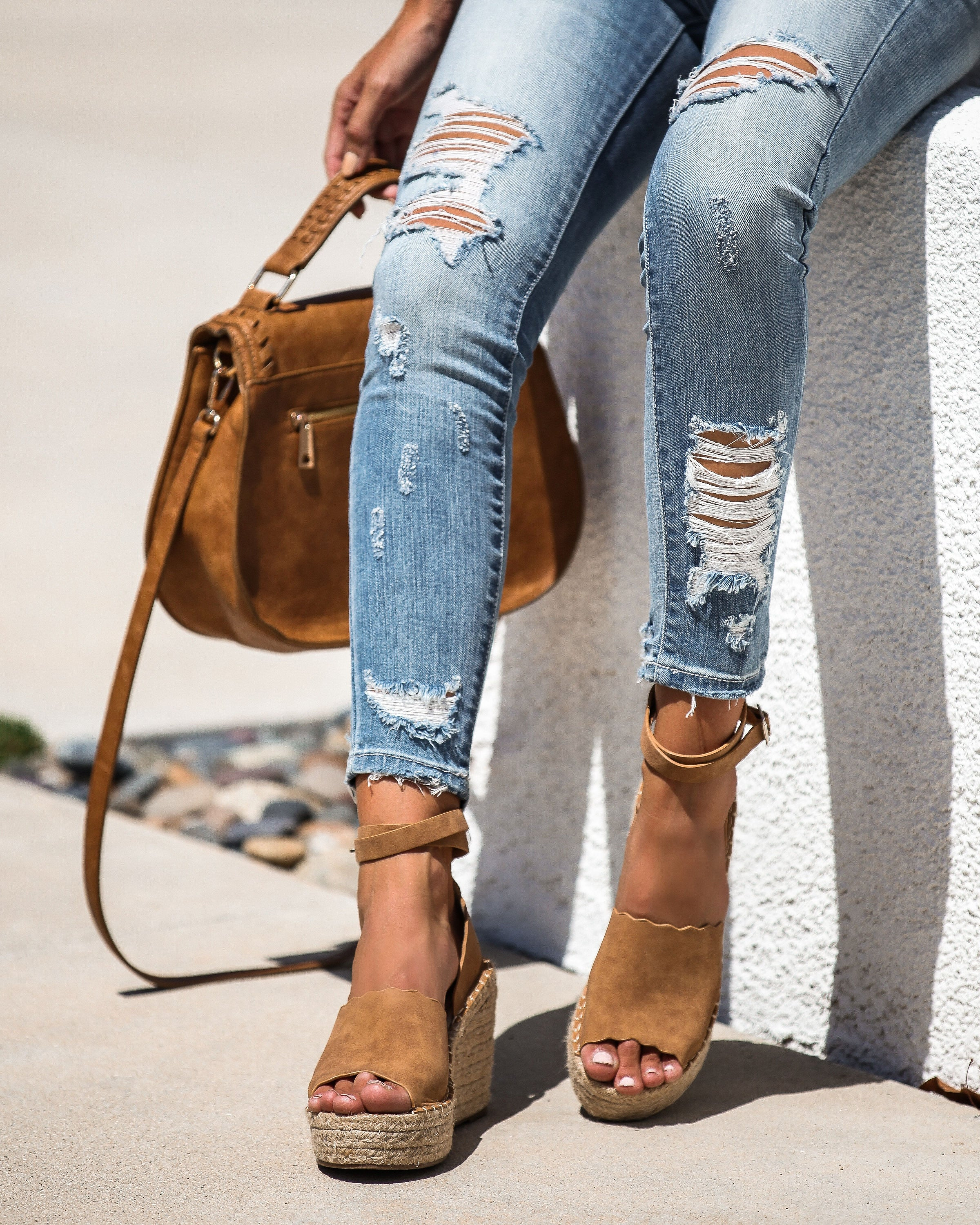 c05a1c7b615 Naomi Ankle Wrap Scalloped Espadrille Wedge - FINAL SALE