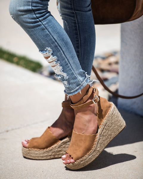 Naomi Ankle Wrap Scalloped Espadrille Wedge - FINAL SALE