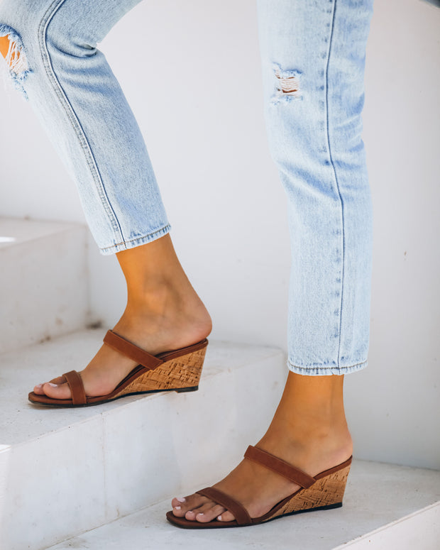 Suzette Double Strap Wedge Sandal - Tan - FINAL SALE