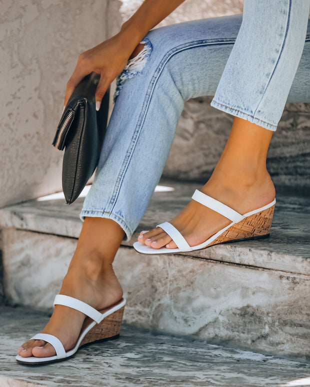 Suzette Double Strap Wedge Sandal - White Croc - FINAL SALE