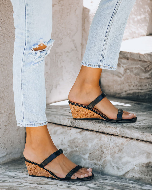 Suzette Double Strap Wedge Sandal - Black Croc  - FINAL SALE