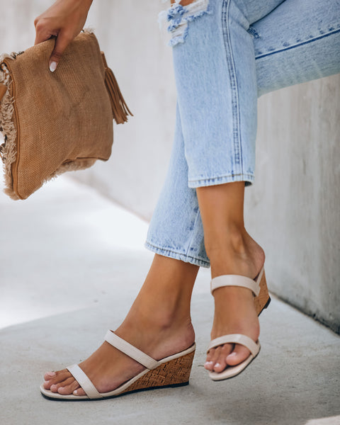 Suzette Double Strap Wedge Sandal - Beige Patent