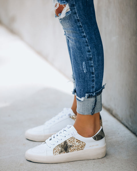 Hide + Chic Faux Leather Glitter Sneaker