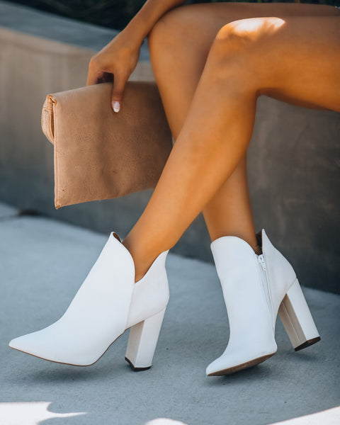 What A Night Heeled Bootie - White