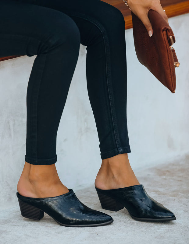 Hometown Embossed Heeled Mule