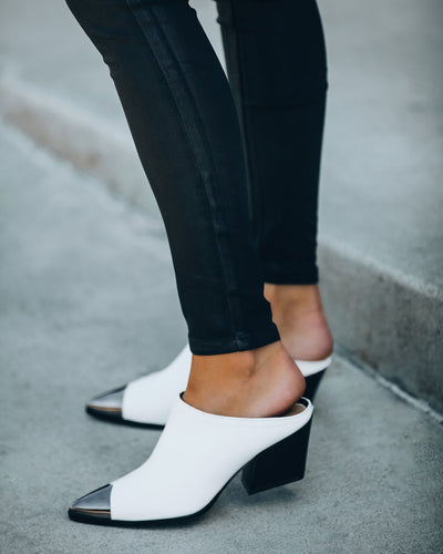 Steele Faux Leather Heeled Mule - White