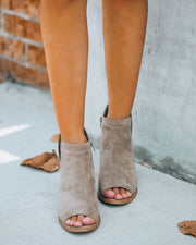 Bey Faux Suede Peep Toe Wedge - Grey