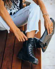 Czech Faux Leather Heeled Combat Boot view 6