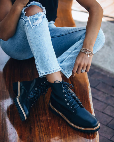 Brycen Faux Leather Lace Up Boot