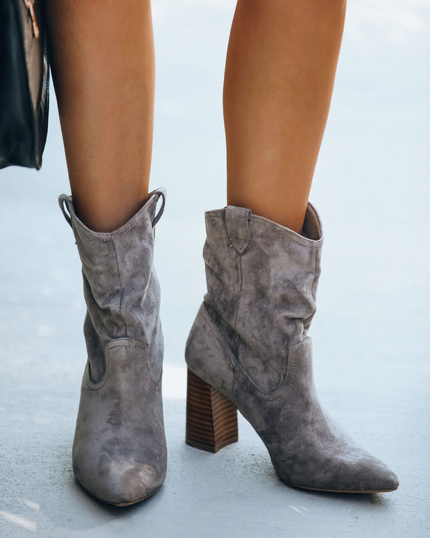 Dev Faux Suede Heeled Bootie - Grey