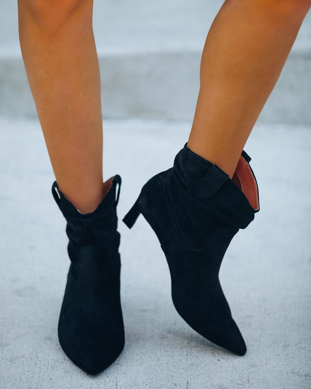 Marant Faux Suede Heeled Scrunch Bootie - Black