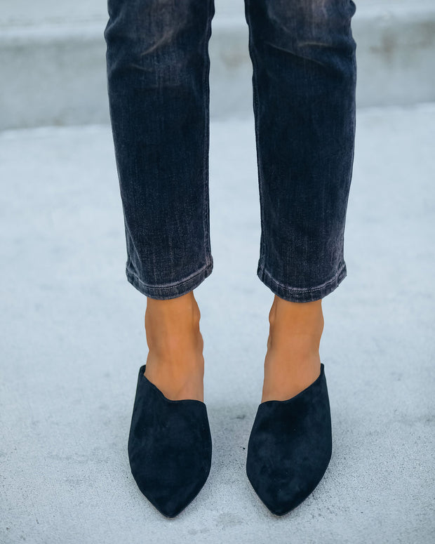 Tip Top Faux Suede Kitten Heel Mule - Black