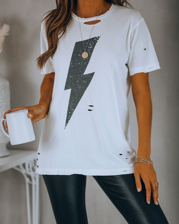 No Surprise Distressed Cotton Bolt Tee