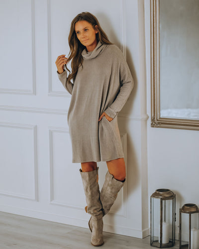 Cannon Pocketed Cowl Neck Thermal Knit Dress - Portabella