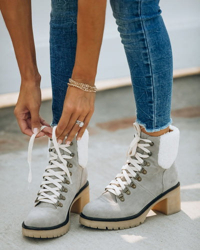 PREORDER - Conquest Heeled Shearling Lace Up Boot