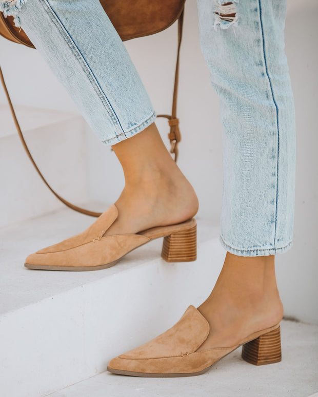 Savvy Faux Suede Pointed Heeled Mule