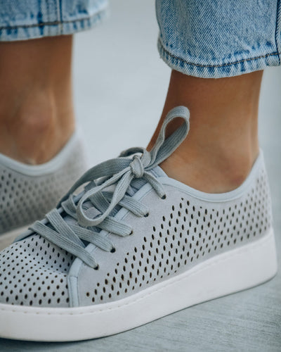 Montecito Faux Suede Perforated Sneakers - Grey