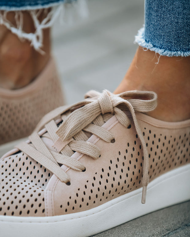 Montecito Faux Suede Perforated Sneakers - Dusty Rose