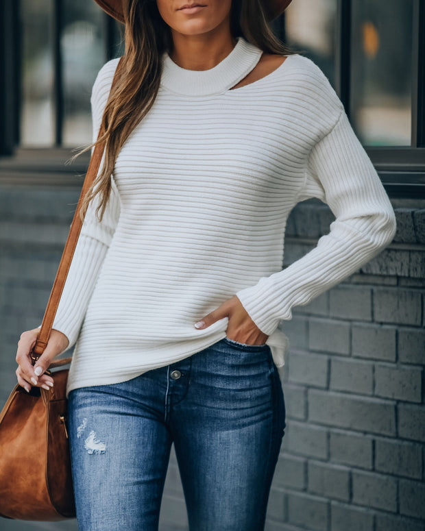 Aliyah Cutout Knit Sweater - Off White