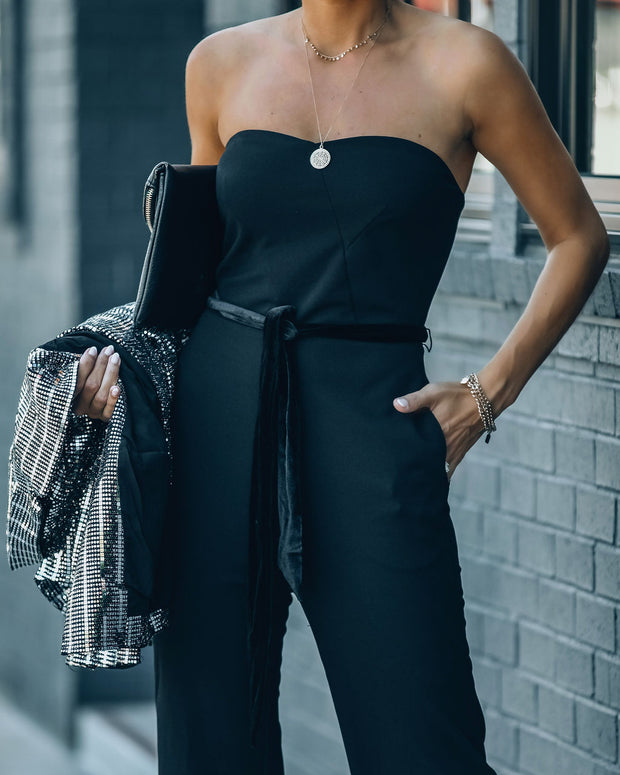 Exclusives Only Strapless Pocketed Velvet Tie Jumpsuit view 6
