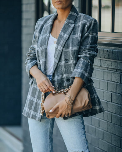 Becca Pocketed Plaid Blazer