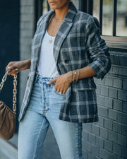 Becca Pocketed Plaid Blazer view 7