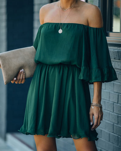 Raphael Ruffle Off The Shoulder Chiffon Dress - Hunter Green