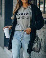 Coffee Addict Distressed Cotton Tee