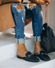 Noteworthy Woven Loafer Mule - Black view 2