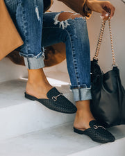 Noteworthy Woven Loafer Mule - Black view 8